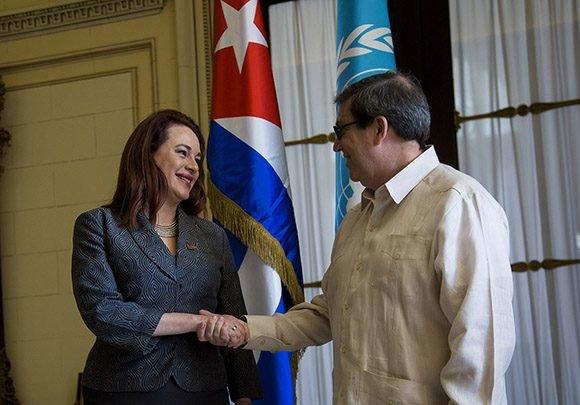 Canciller cubano recibe a Presidenta de la Asamblea General de la ONU