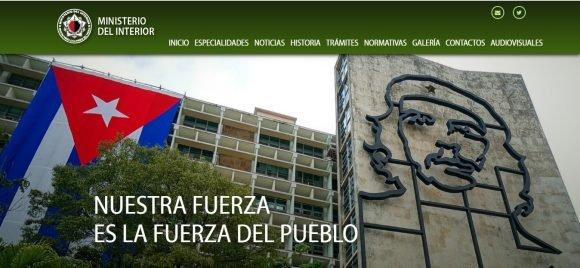Visible en la web sitio oficial del Ministerio cubano del Interior