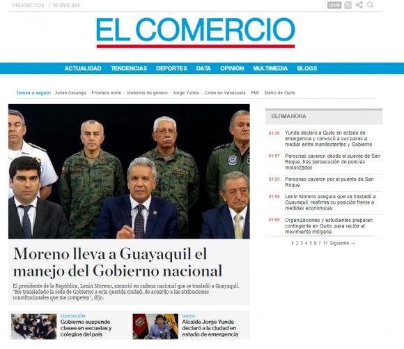 Lenín Moreno decreta toque de queda en Quito