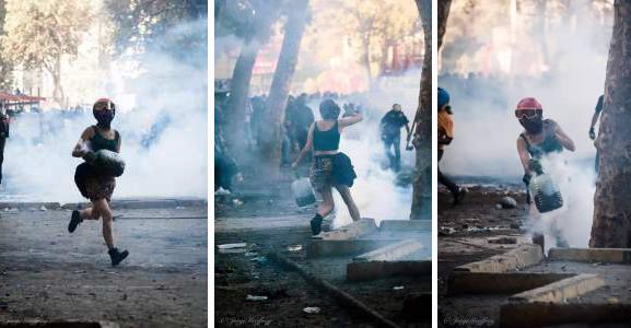 Josefina, la joven chilena que apaga bombas lacrimógenas con las manos