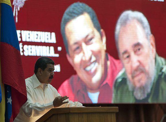 Nicolás Maduro durante el acto de solidaridad con Venezuela celebrado en La Habana. Foto Irene Pérez/Cubadebate.