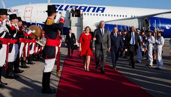 Cuban President Diaz-Canel arrives in Argentina
