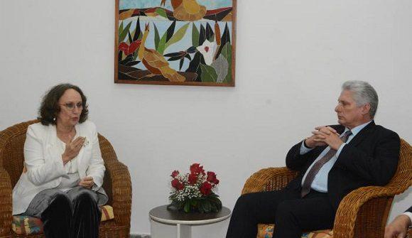 Presidente cubano recibió a la Secretaria General Iberoamericana