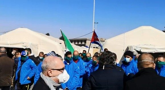 Cuban medical brigade in campaign area of hospital in Lombardy