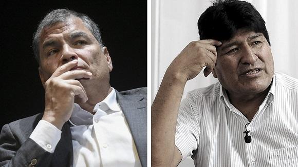 Correa y Evo quedaron imposibilitados de participar en los próximos comicios en Ecuador y Bolivia, respectivamente. Foto: Telam