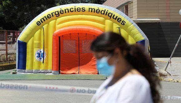 Hospital de campaña frente al hospital Arnau de Vilanova. Lleida España 4 de julio de 2020