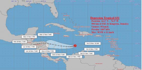 """Se forma en el Caribe central la depresión tropical """"Número 31"""""""