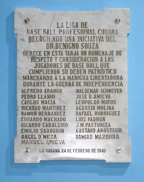 En esta tarja aparecen los nombres de varios peloteros mambises. Foto: Boris Luis Cabrera.
