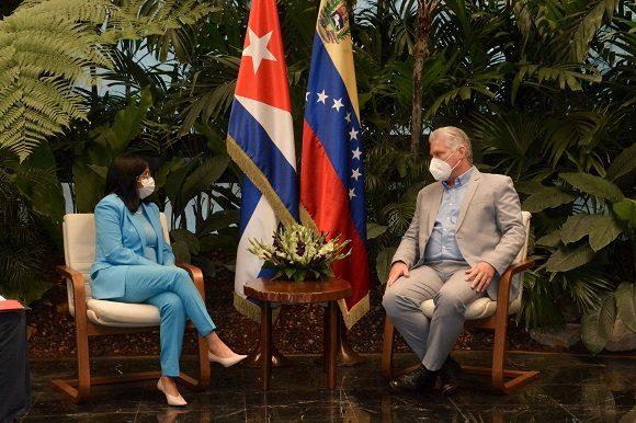 Dialoga Díaz-Canel con Vicepresidenta ejecutiva de Venezuela