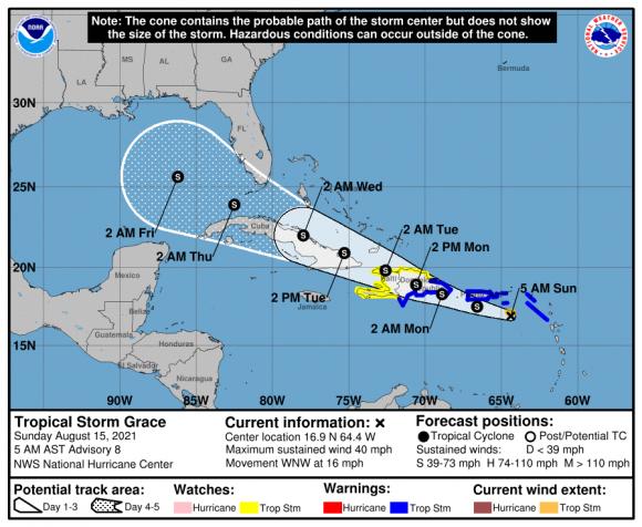 Tormenta tropical Grace próxima a Puerto Rico