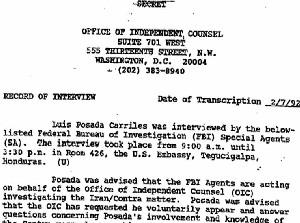 Archivos de Seguridad Nacional: Entrevista realizada por agentes del FBI a Luis Posada Carriles