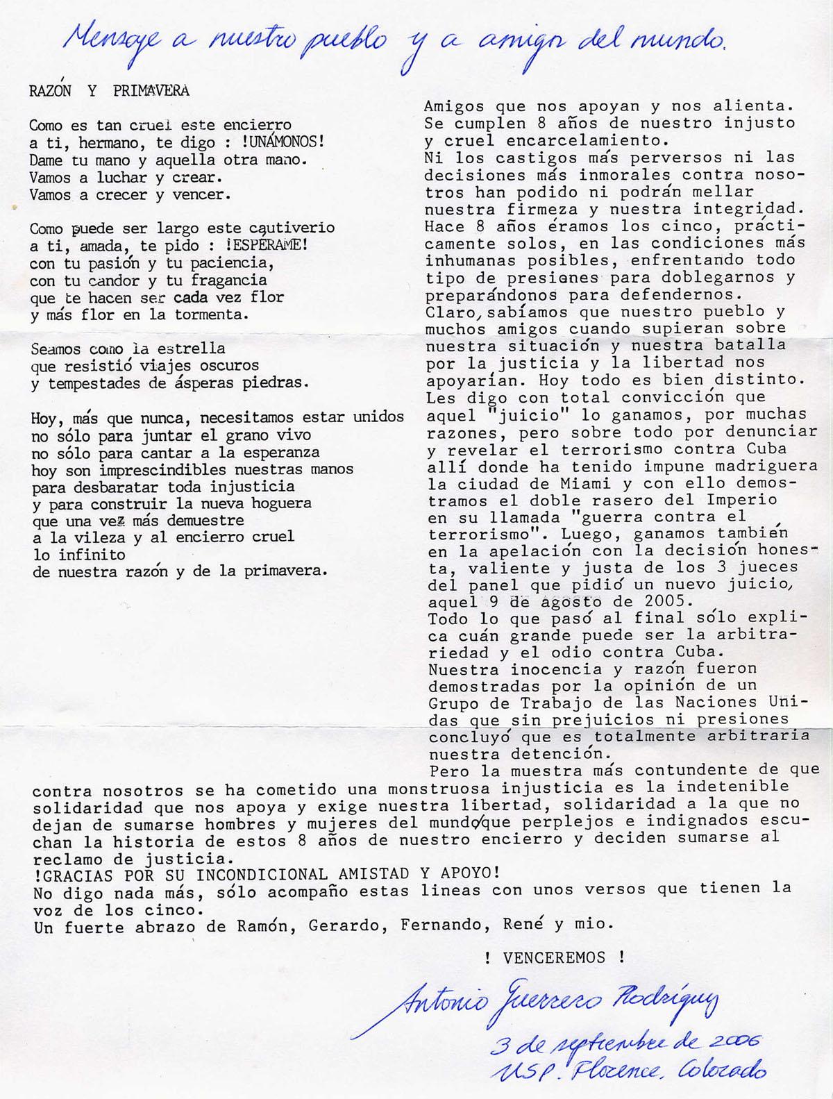 Mensaje de Antonio Guerrero al pueblo de Cuba y a los amigos del mundo